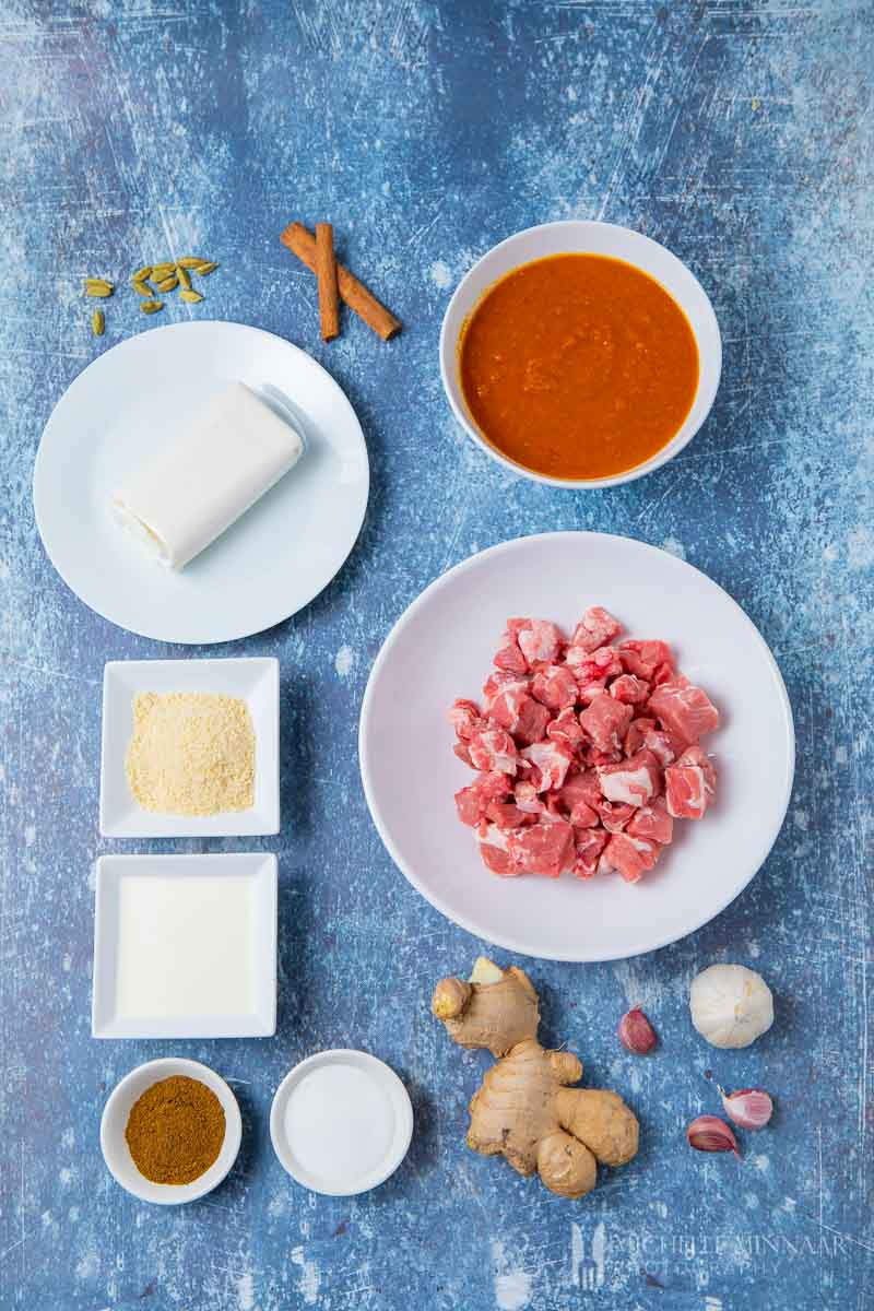 Ingredients to make lamb korma