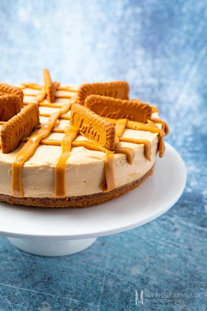 A biscoff cheesecake - speculoos cookies topped on a cheesecake