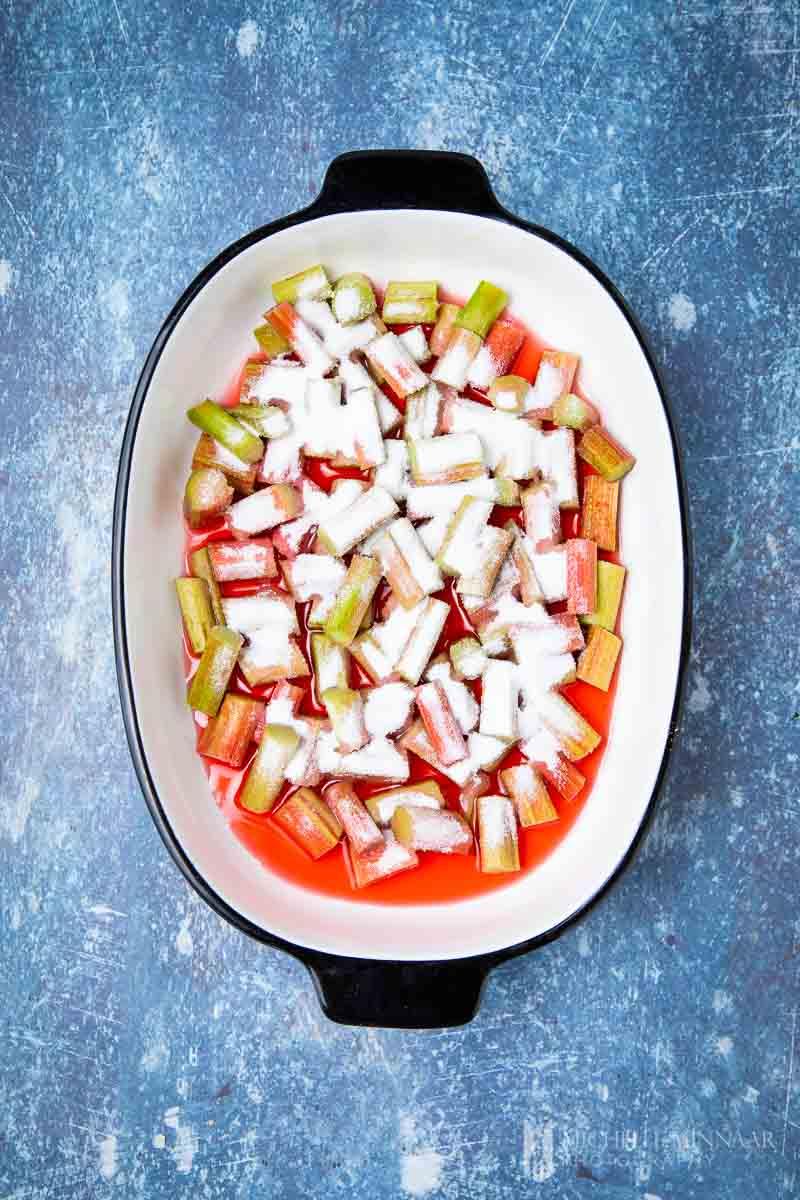 Rhubarb covered in sugar