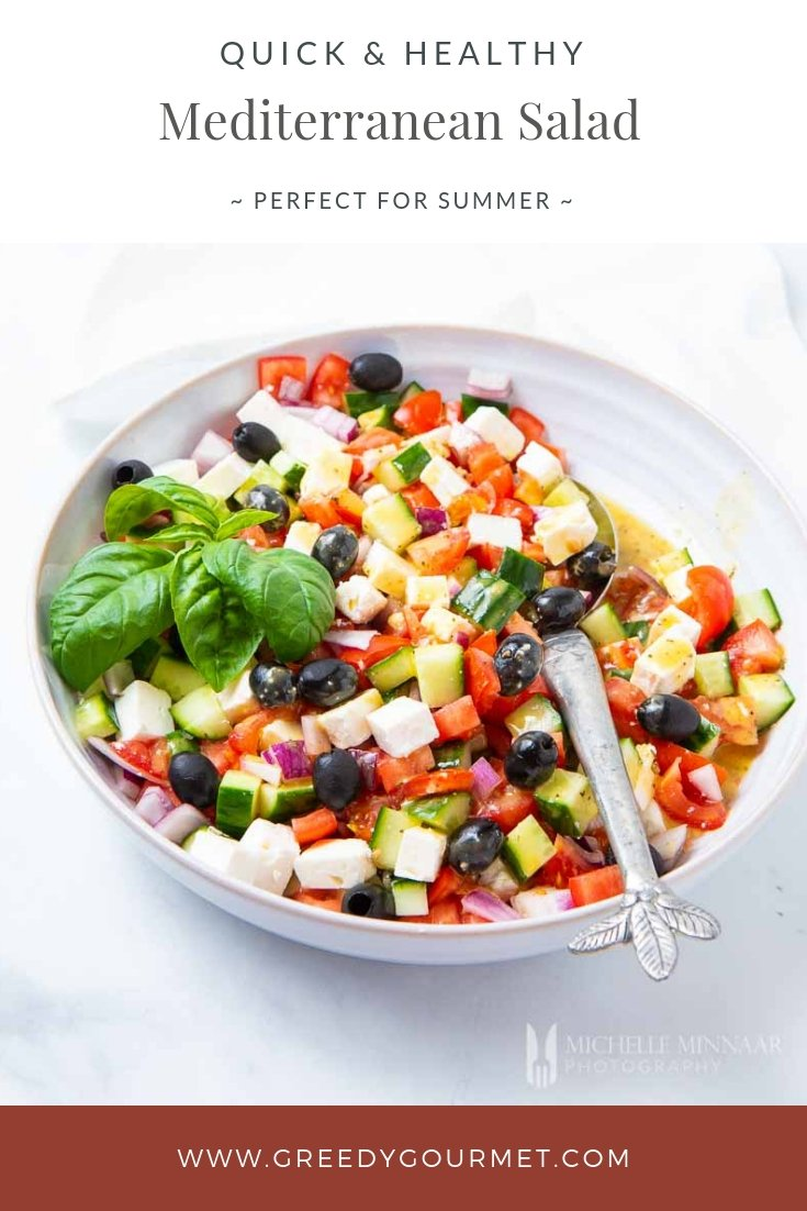 A colorful bowl of Mediterranean salad