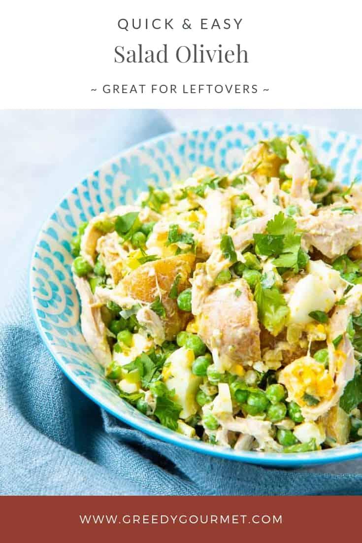 A large bowl of salad olivieh