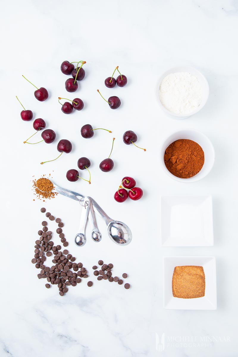 Ingredients to make cherry brownies