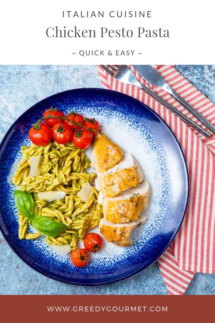 A plate of chicken pesto pasta