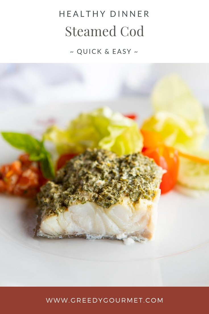A close up of white steamed cod