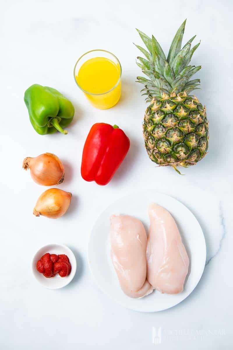 Ingredients to make fanta chicken