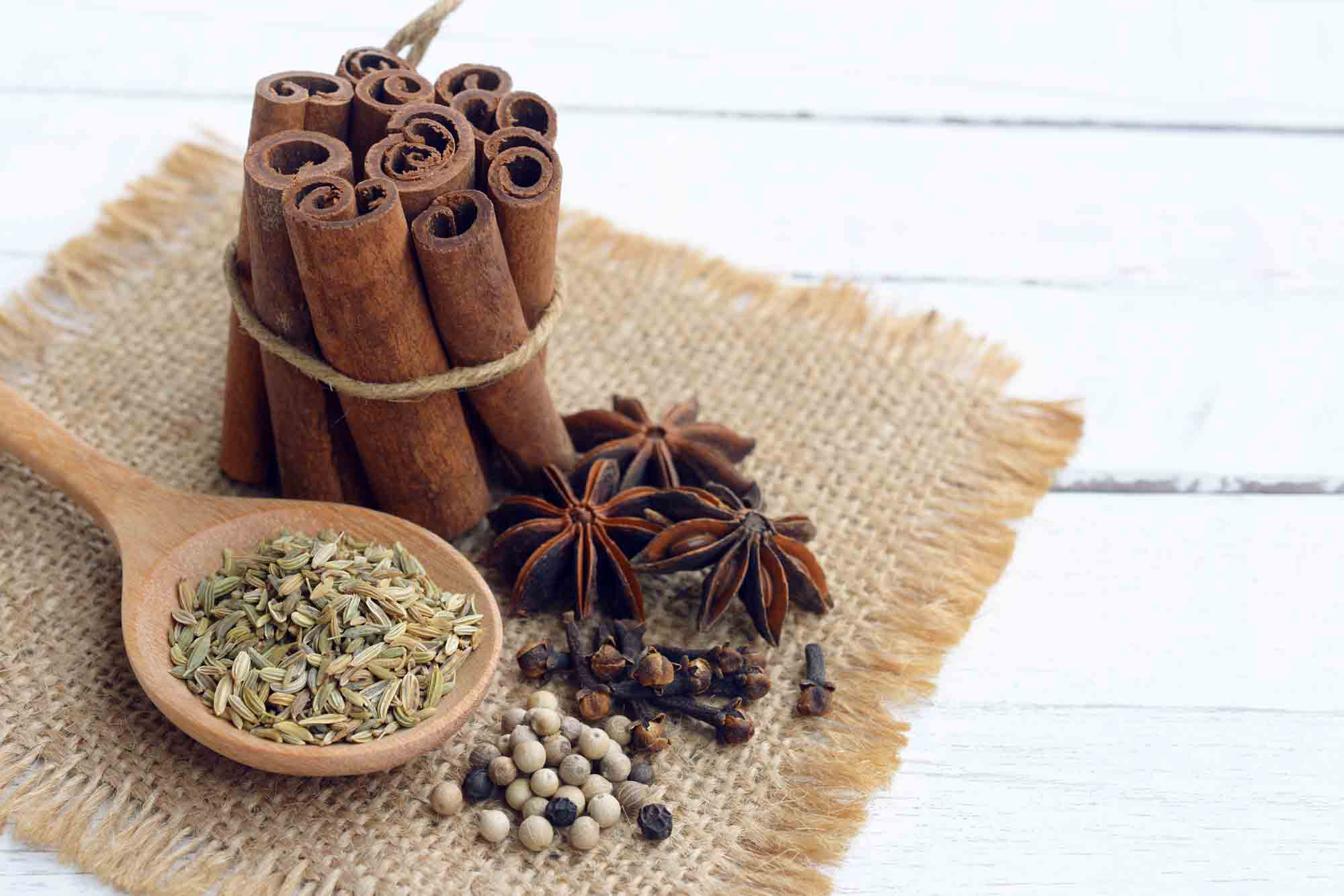 Five brown spices