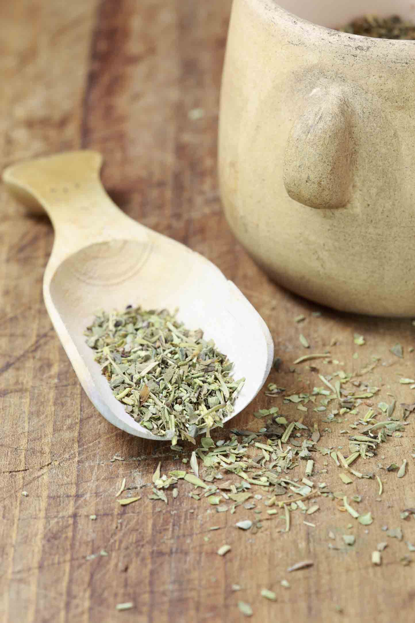 Wooden spoon and herbs de provence