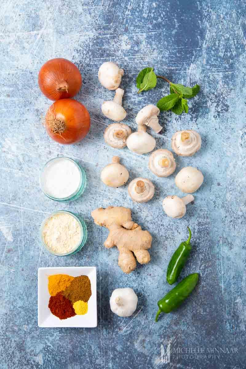 Ingredients to make mushroom pakora