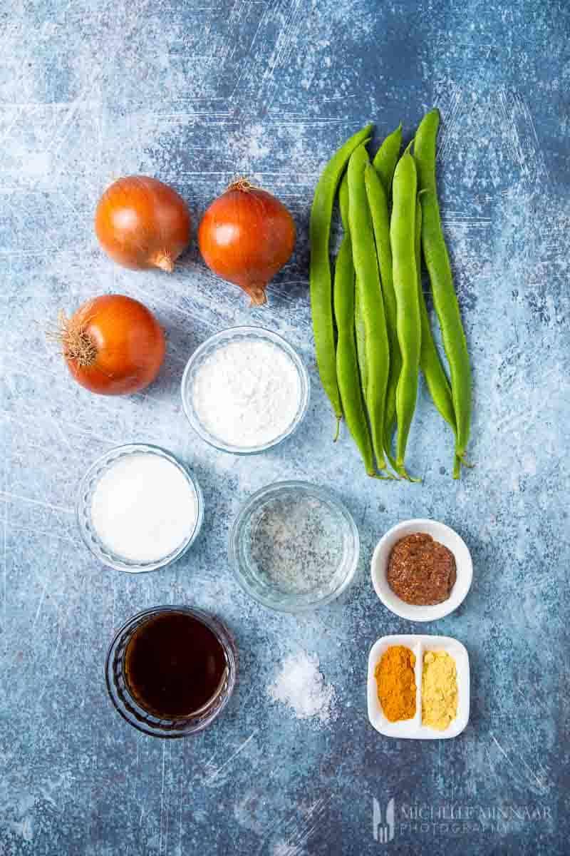 Ingredients to make runner bean chutney