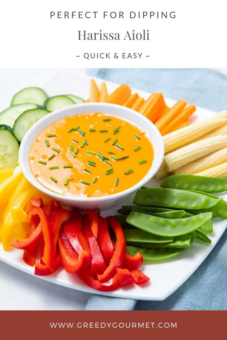 Orange harissa aioli and cut vegetables