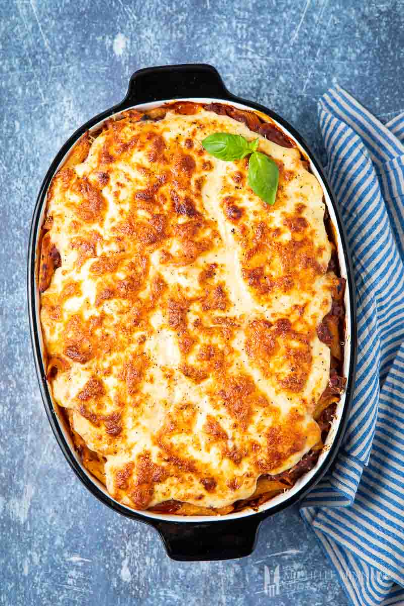 Baked bolognese pasta bake in a dish
