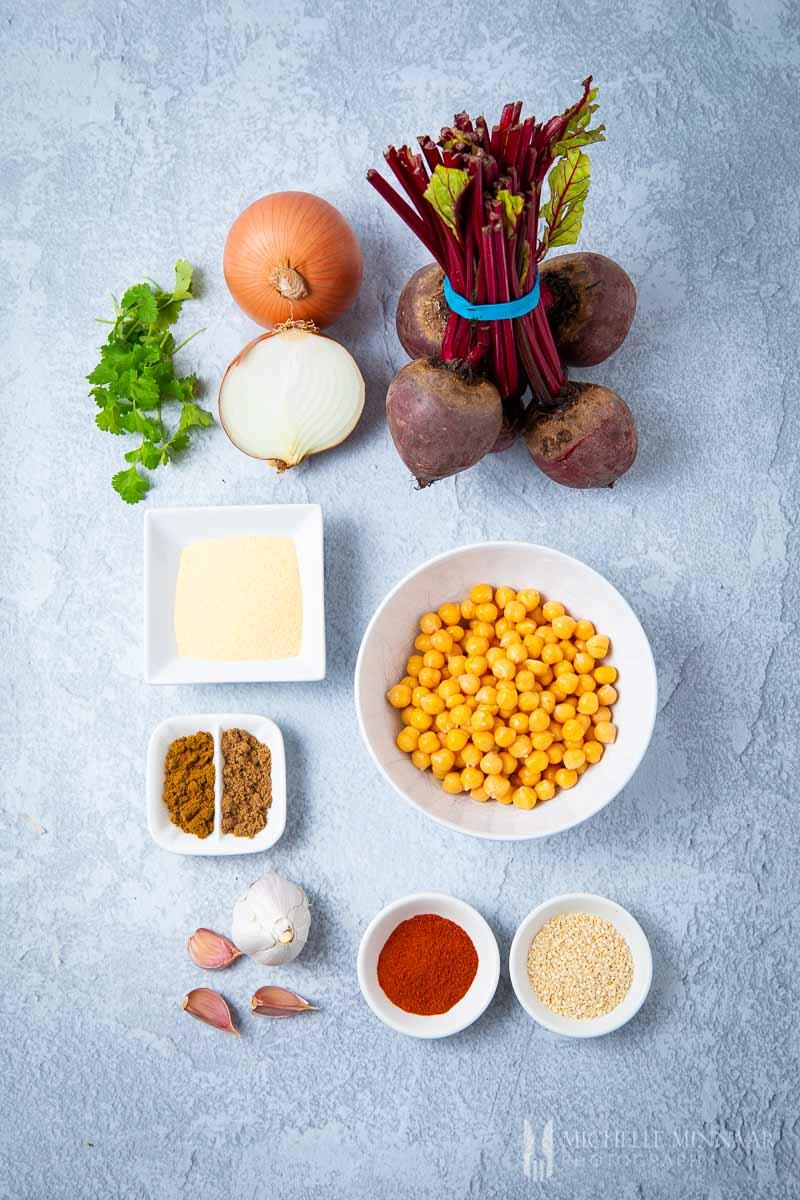 Ingredients to make beetroot falafal