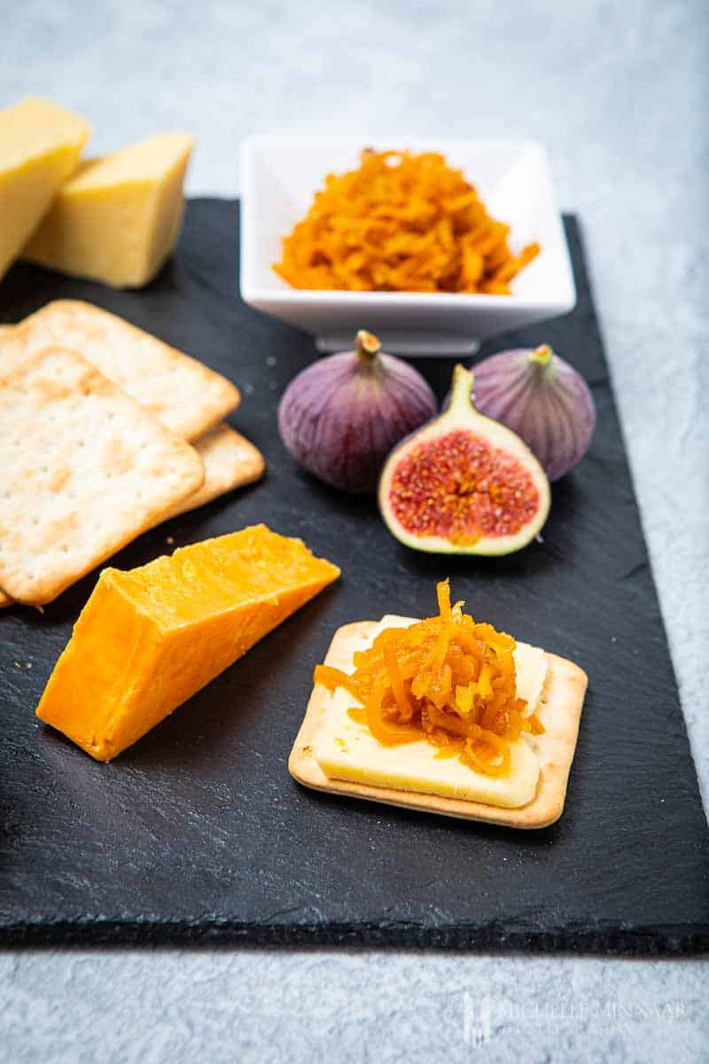 Figs, carrots, cheese, crackers