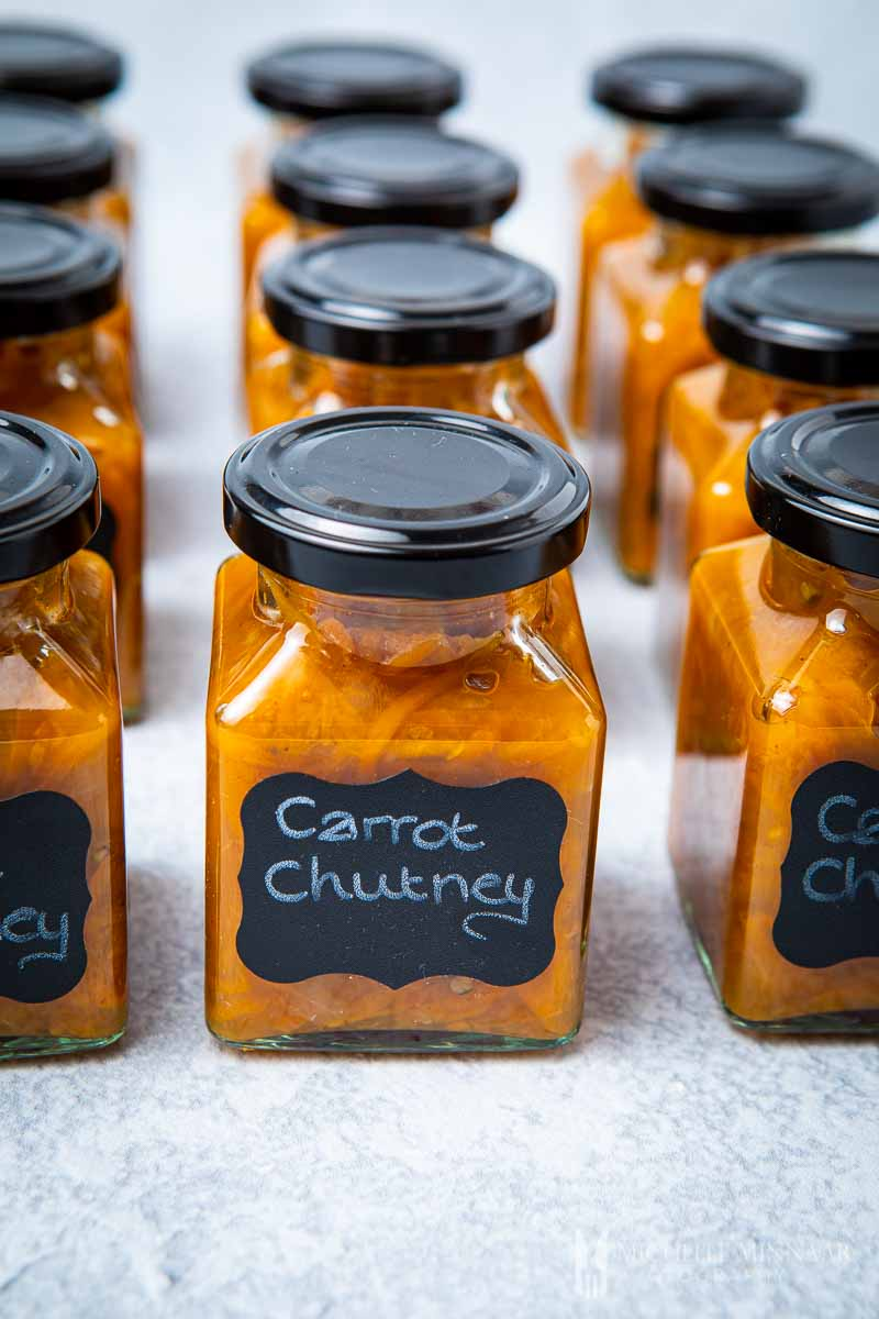 Jars of orange carrot chutney