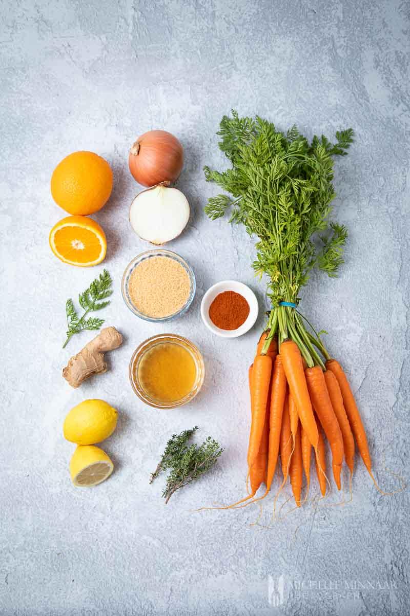 Ingredients to make carrot chutney
