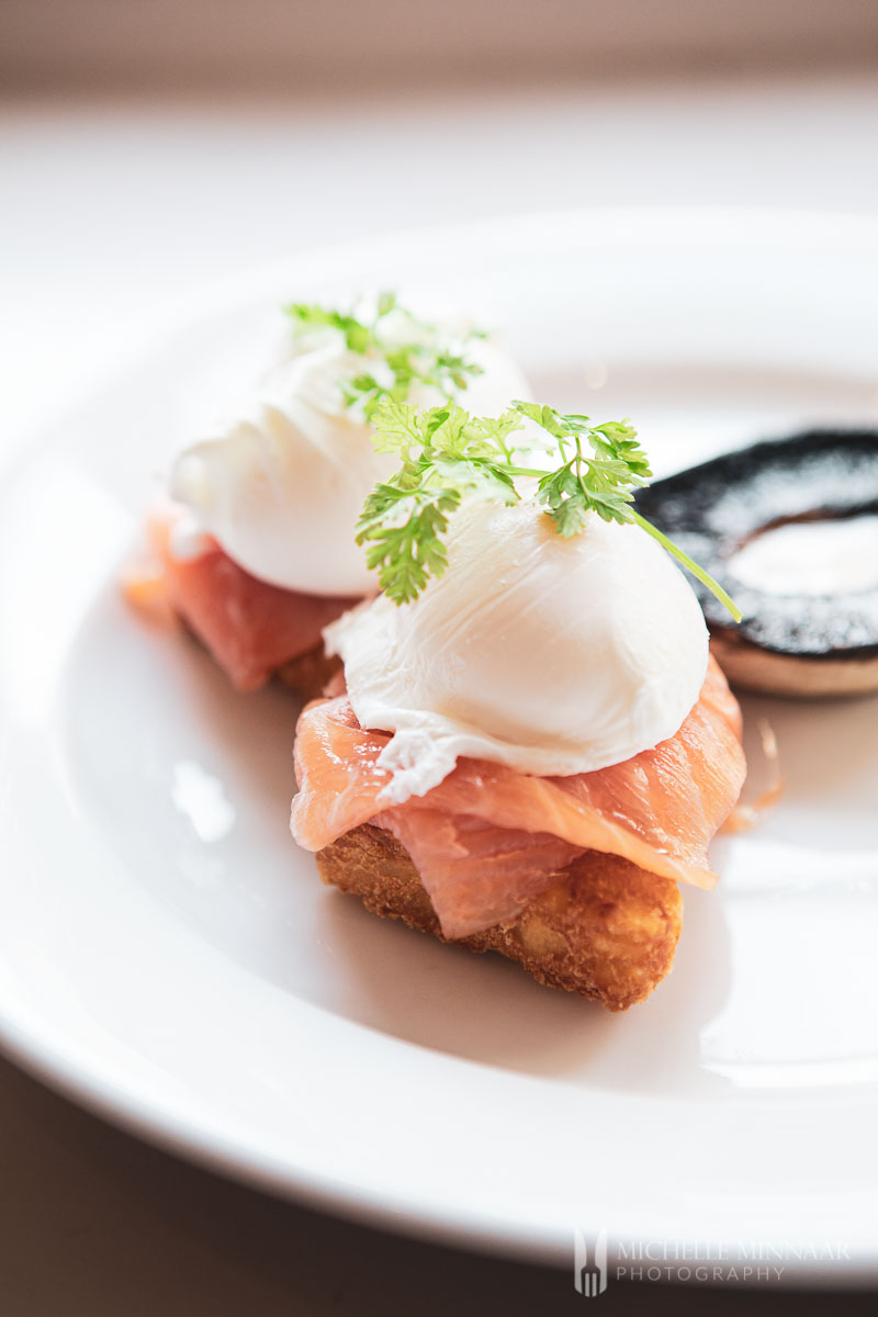 Egg and salmon on toast