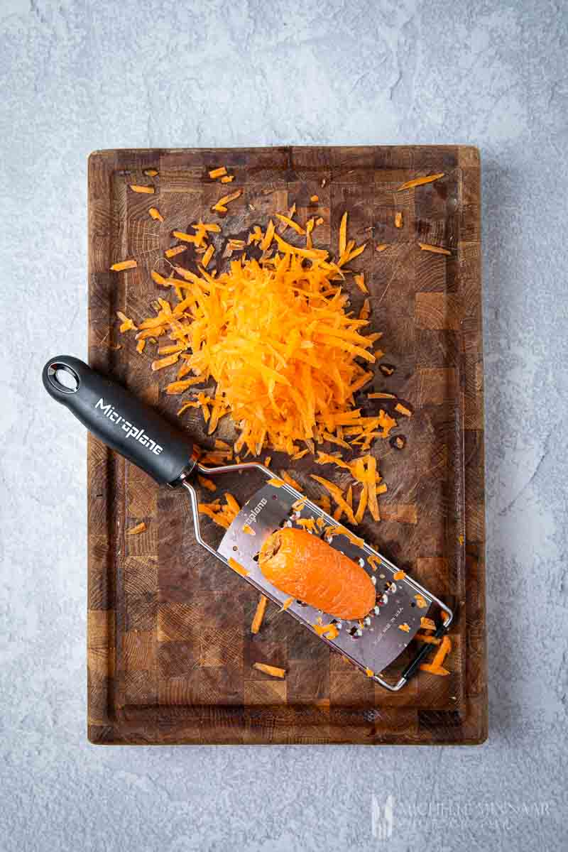 Shredded carrot and a zester
