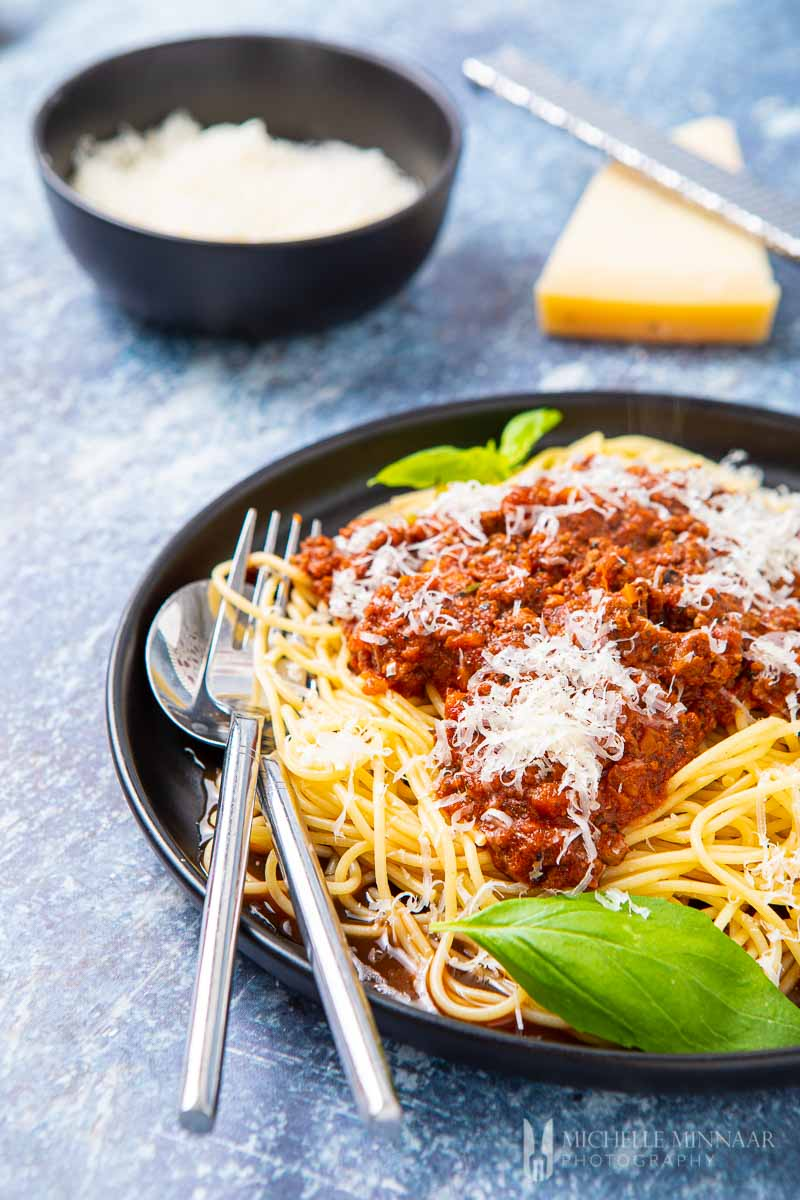 Plate of fresh slimming world spaghetti bolognese