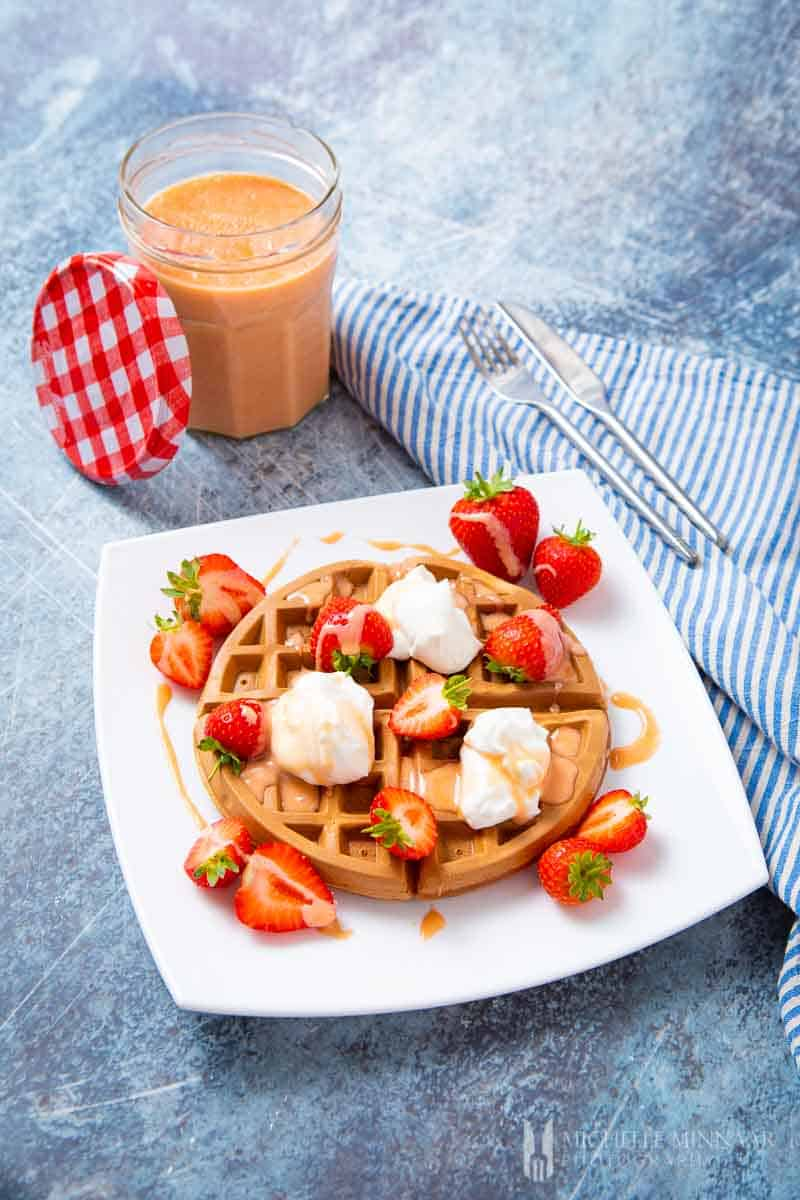 Waffle with cream and curd