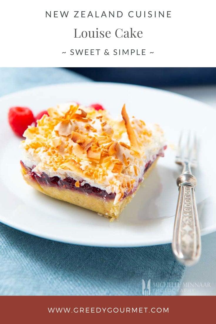 Slice of layered louise cake