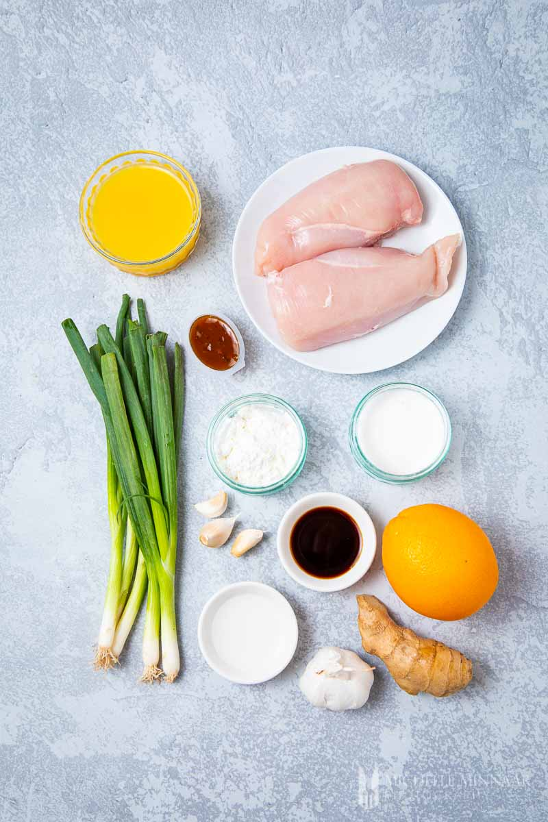 Ingredients to make Orange peel chicken