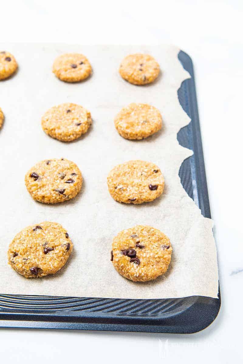 tray of uncooked Vegan Oat Cookies