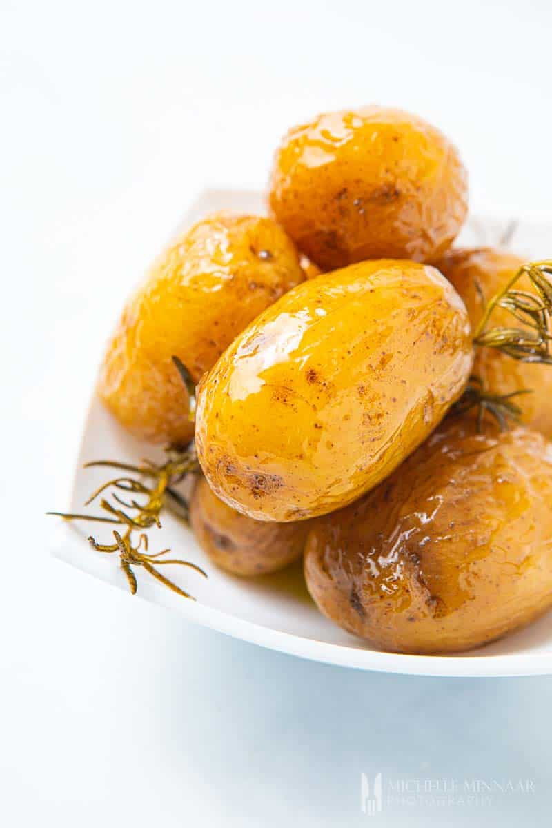 Plate of confit potatoes
