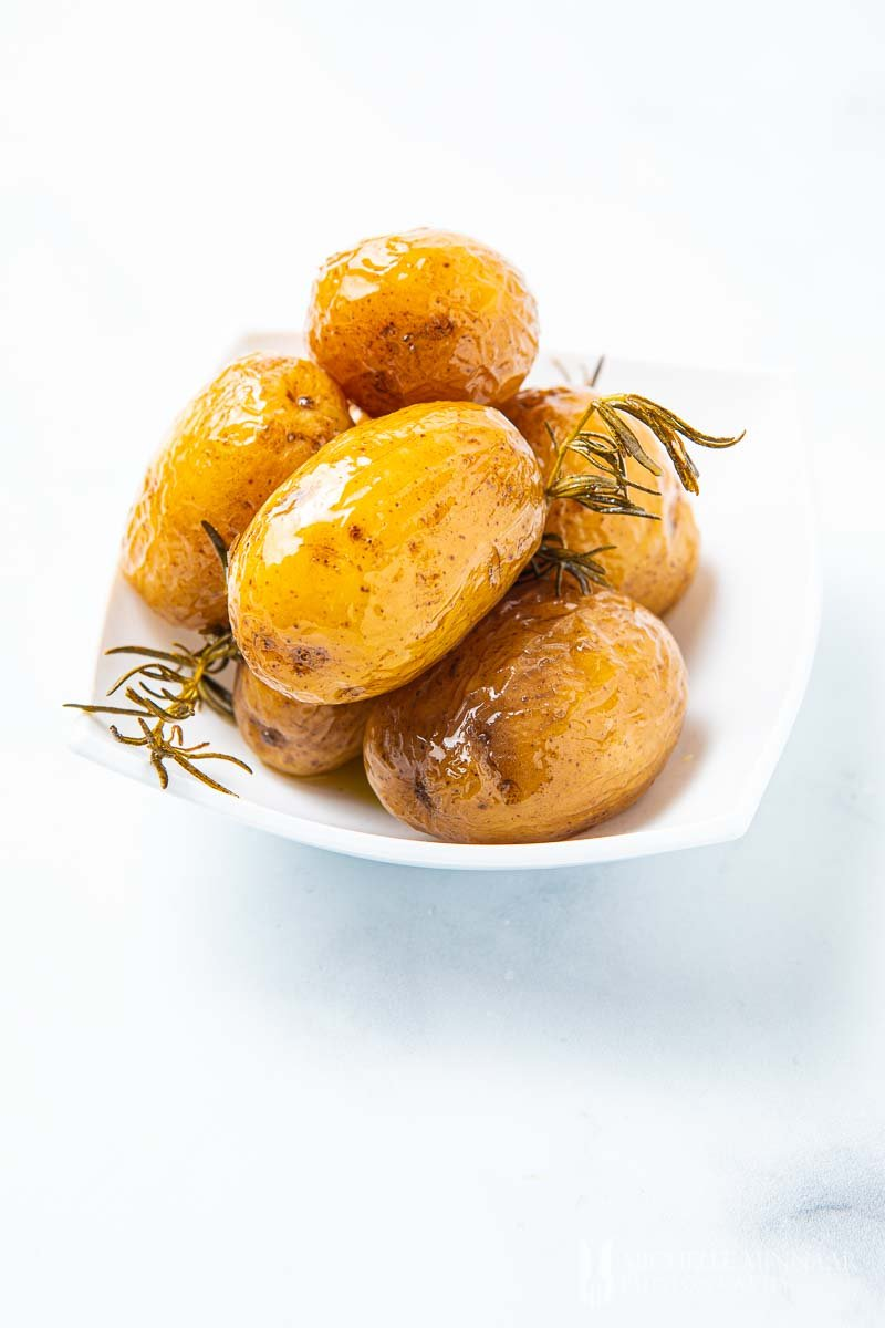 Glazed whole confit potatoes