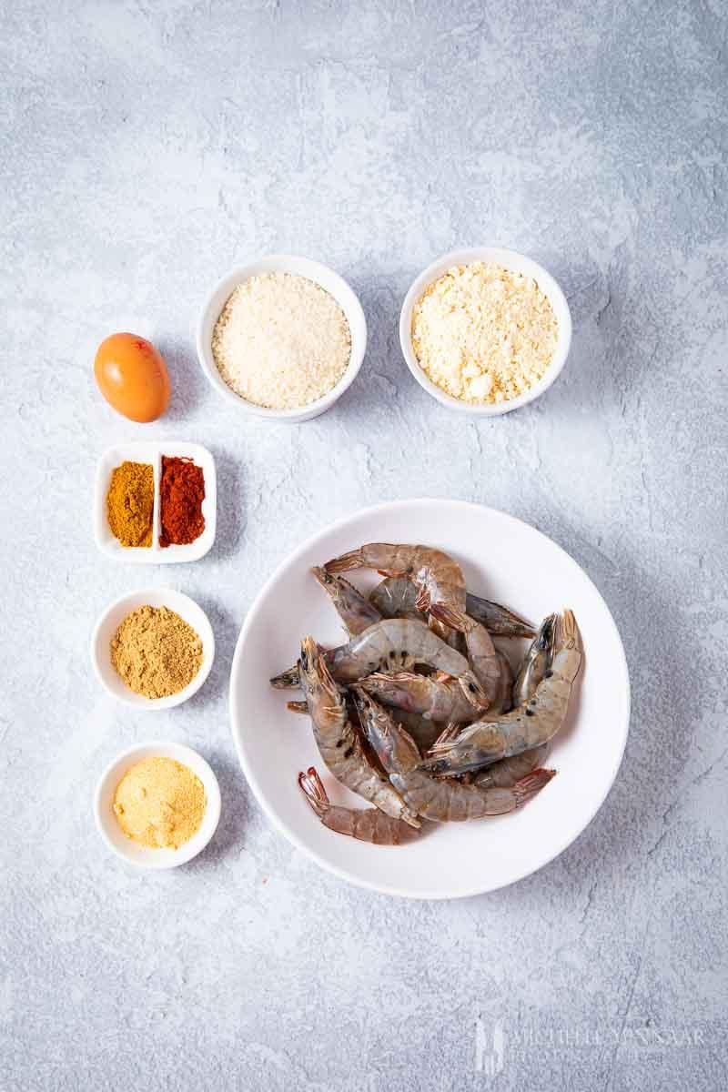 Ingredients to make king prawn butterfly