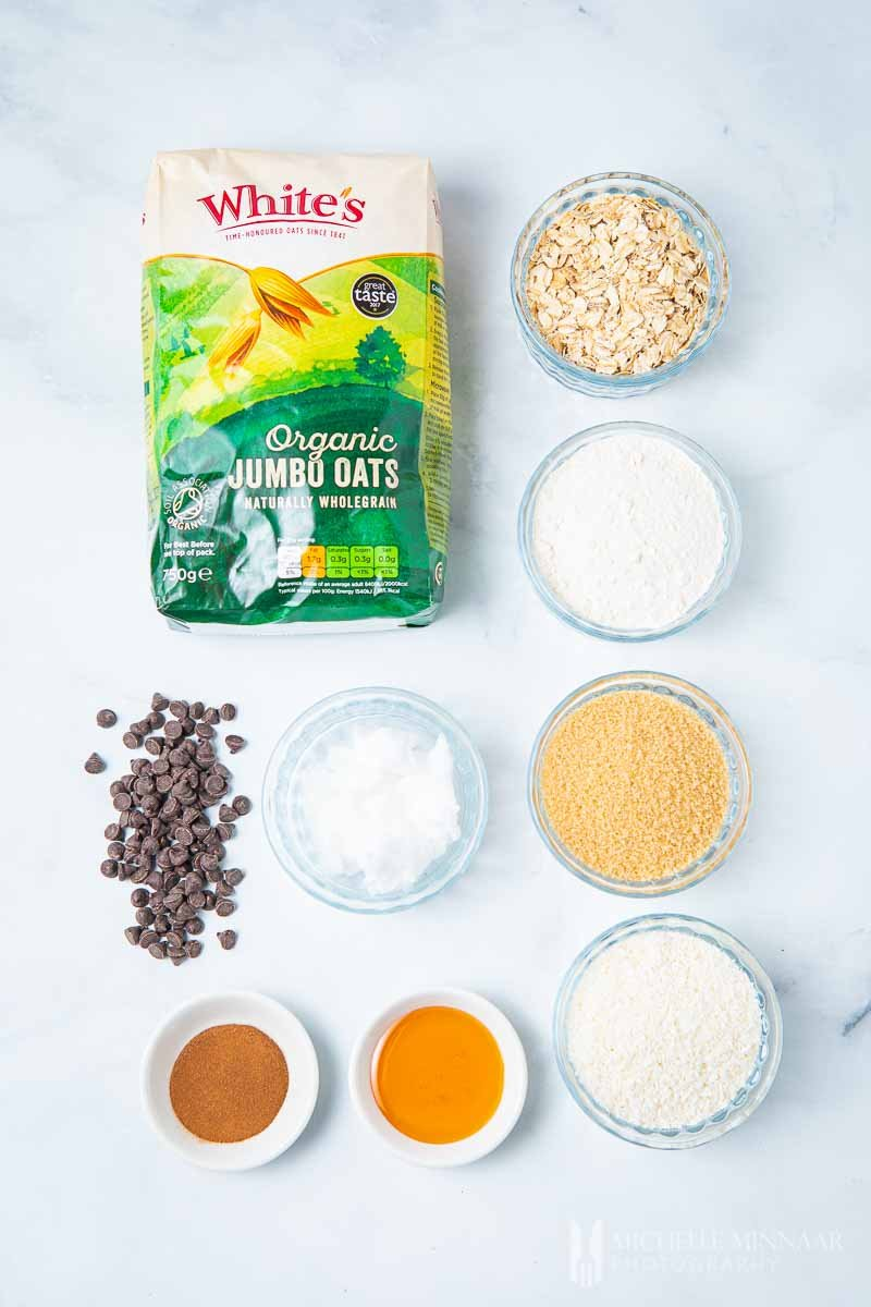 Ingredients to make Vegan Oat Cookies