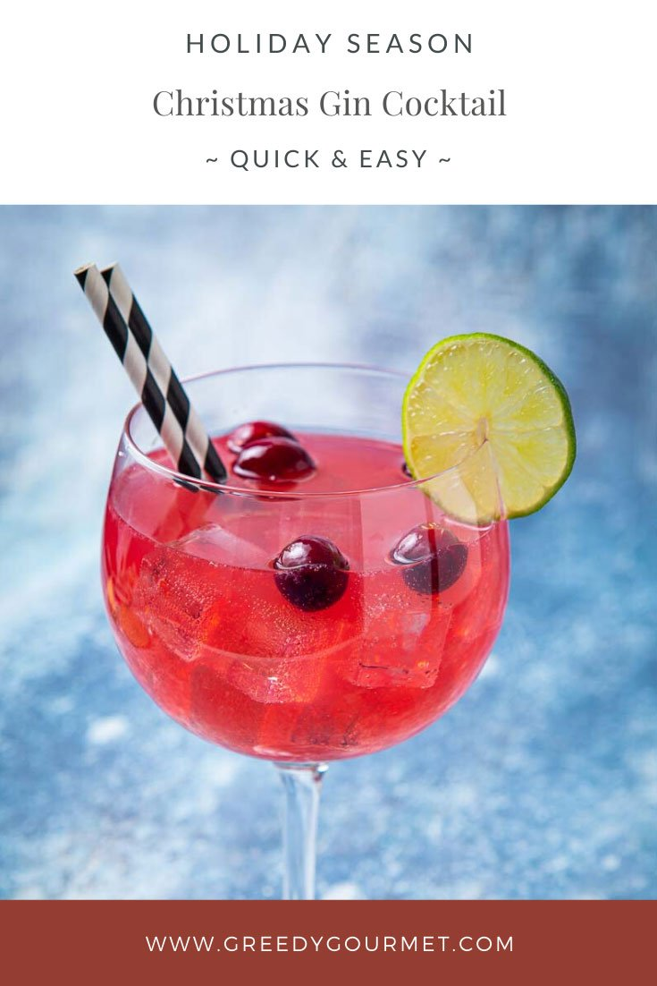 Large red Christmas gin cocktail