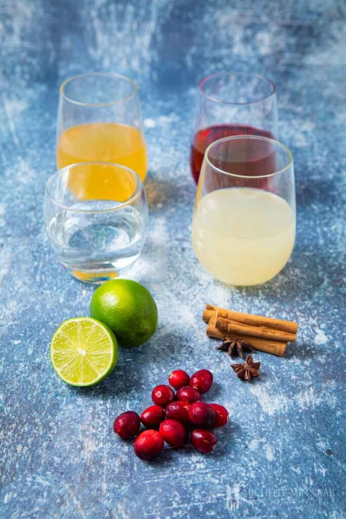 Ingredients to make a Christmas gin cocktail