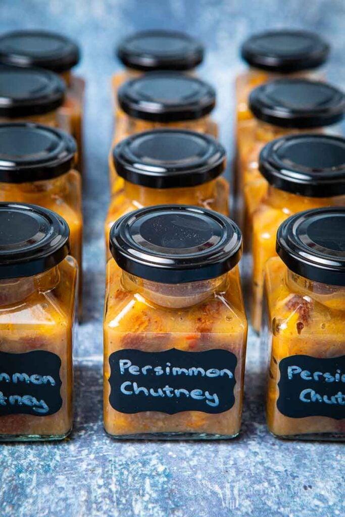 Jars of persimmon chutney