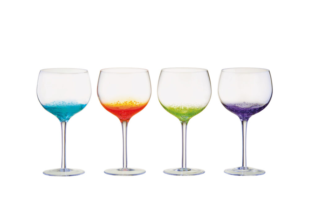 Four clear glasses