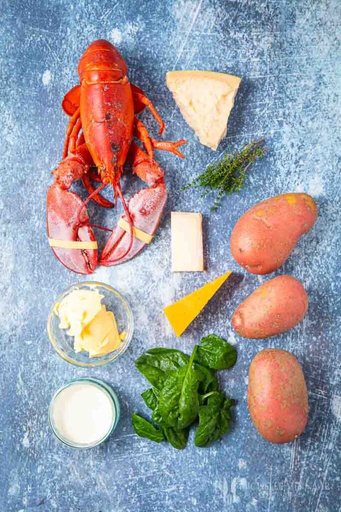 Ingredients to make lobster gratin
