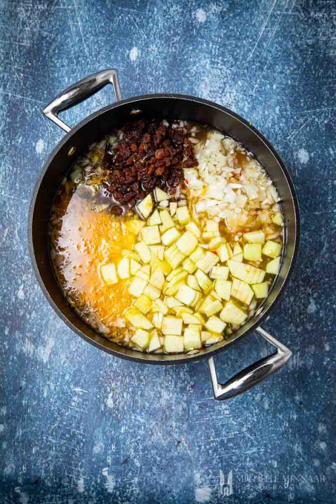 Ingredients in a saucepan