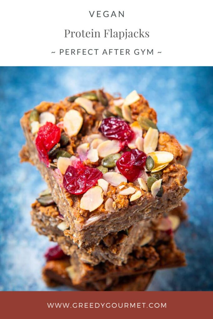 Stack of oat and fruit protein flapjacks