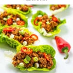 Lettuce cups with meat inside, yuk sung appetizer