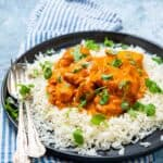 Plate of chicken chasni on white rice