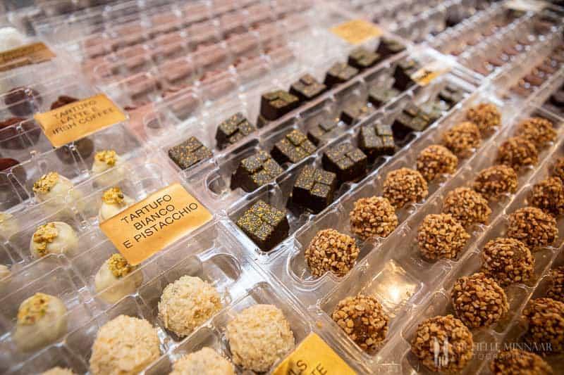 An assortment of chocolate truffles.
