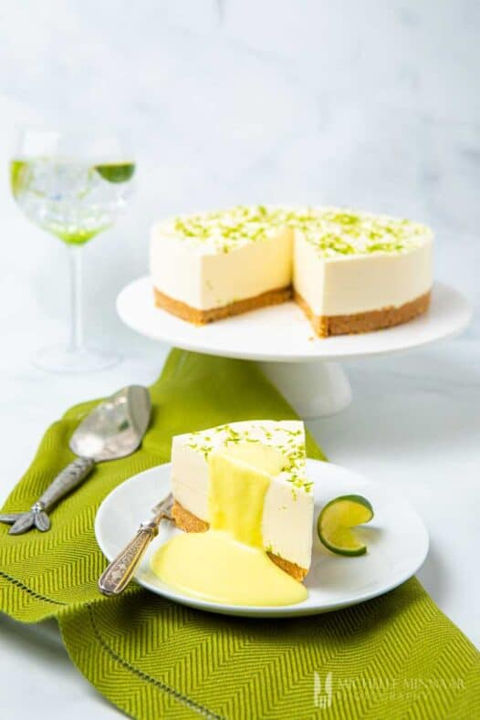 White cheesecake with lime curd drizzle