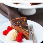 Slice of chocolate delice cake with ice cream