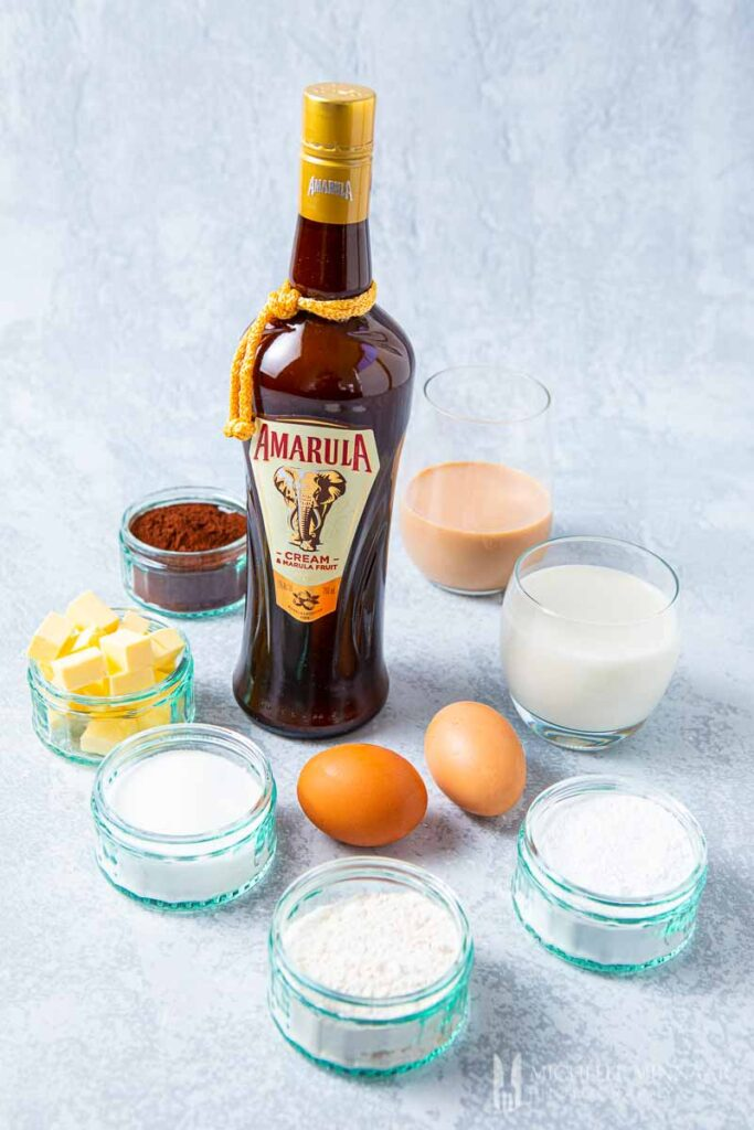 Ingredients to make Chocolate Fairy Cakes with Amarula Buttercream
