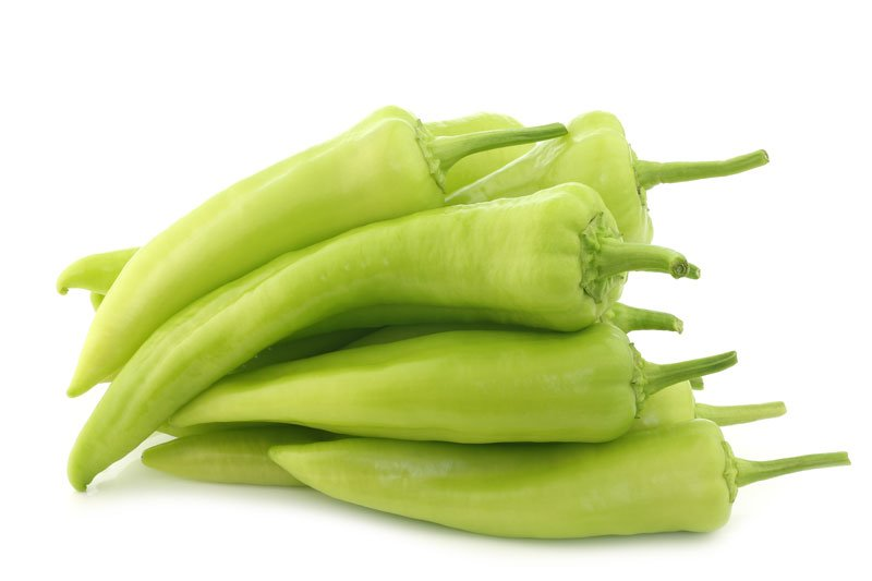 Bunch of green banana peppers