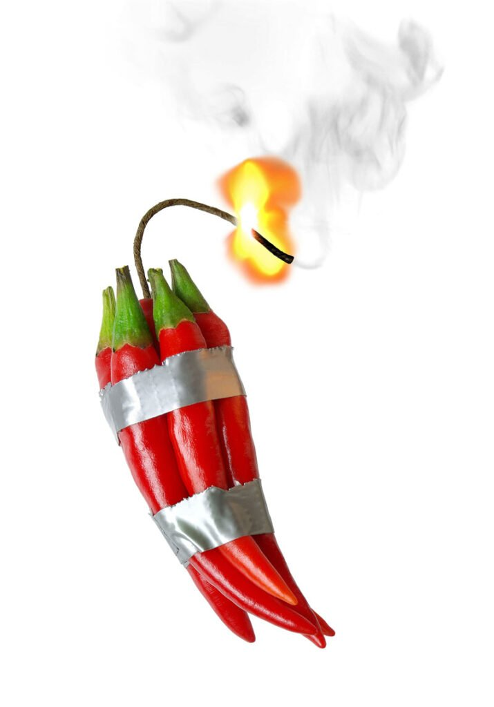 Red chillies wrapped in tape to look like dynamite