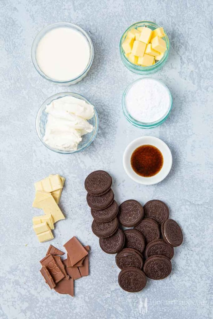 Ingredients to make an Easter Egg Cheesecake