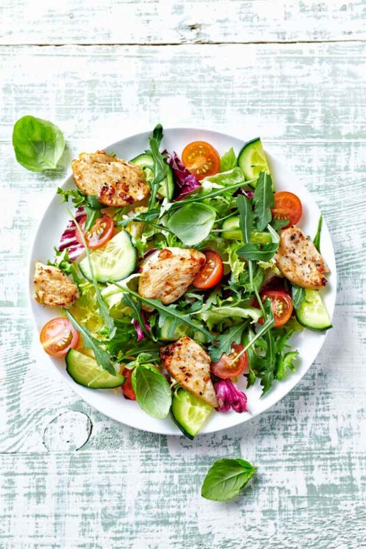 Round plate of chicken salad on a bed of lettuce