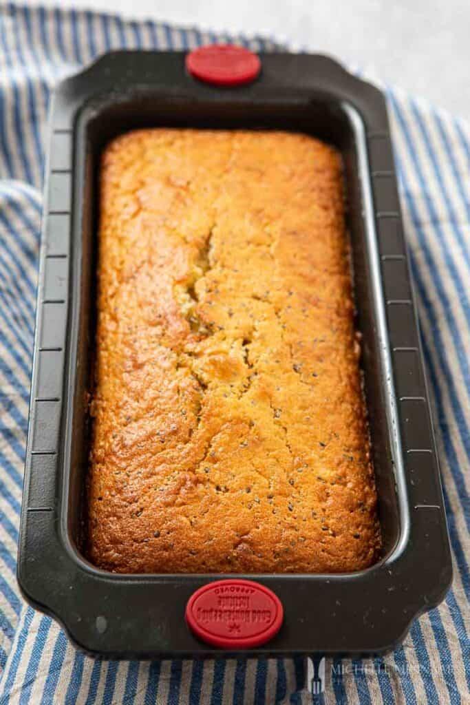 Baked loaf of cake