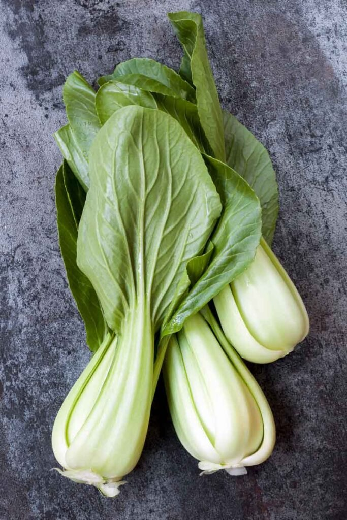 Fresh green and white raw bok choy
