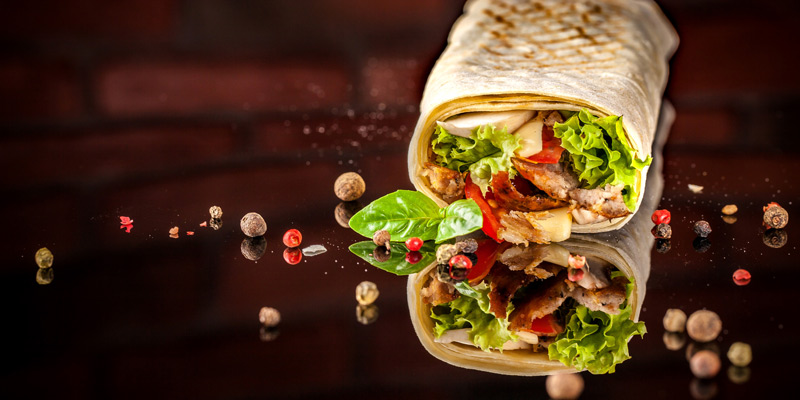 Two wraps with lettuce